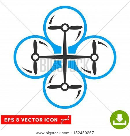 Drone Screws EPS vector icon. Illustration style is flat iconic bicolor blue and gray symbol on white background.