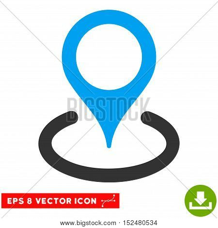 Location EPS vector pictograph. Illustration style is flat iconic bicolor blue and gray symbol on white background.