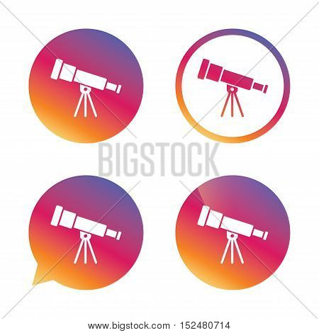 Telescope icon. Spyglass tool symbol. Gradient buttons with flat icon. Speech bubble sign. Vector