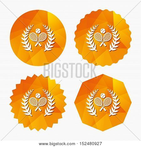 Tennis rackets with ball sign icon. Sport laurel wreath symbol. Winner award. Triangular low poly buttons with flat icon. Vector