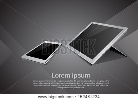 Cell Smart Phone Tablet Computer Responsive Design Blank Screen Digital Device Vector Illustration