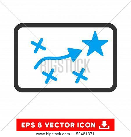 Route Plan EPS vector pictograph. Illustration style is flat iconic bicolor blue and gray symbol on white background.
