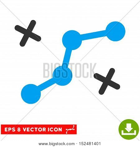 Route Points EPS vector pictograph. Illustration style is flat iconic bicolor blue and gray symbol on white background.
