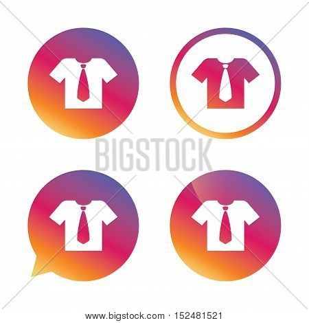 Shirt with tie sign icon. Clothes with short sleeves symbol. Gradient buttons with flat icon. Speech bubble sign. Vector