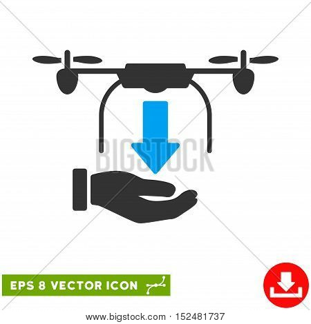 Unload Drone Hand EPS vector icon. Illustration style is flat iconic bicolor blue and gray symbol on white background.