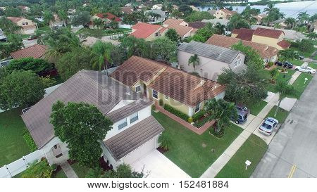 Aerial view of suburban middle class homes in Florida