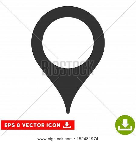 Map Pointer EPS vector pictograph. Illustration style is flat iconic gray symbol on white background.