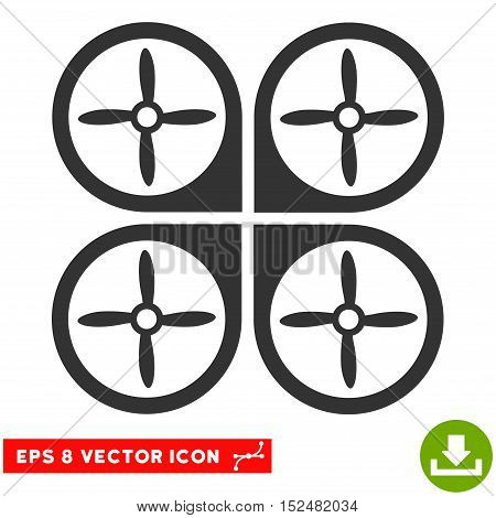 Nanocopter EPS vector pictogram. Illustration style is flat iconic gray symbol on white background.