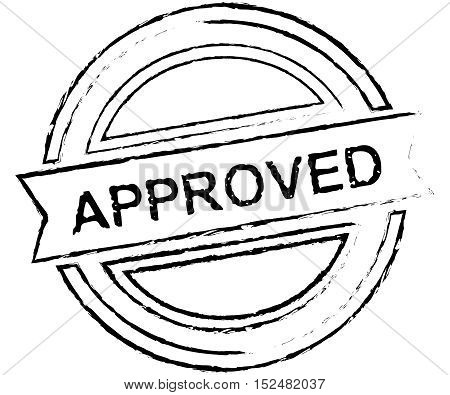 Black grunge approved rubber stamp isolated on white background