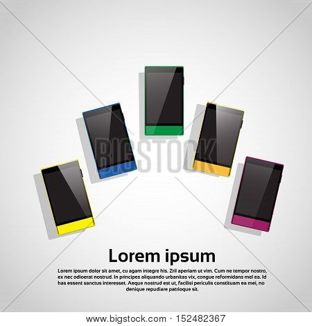 Colorful Cell Smart Phone Set Responsive Design Blank Screen Digital Device Vector Illustration