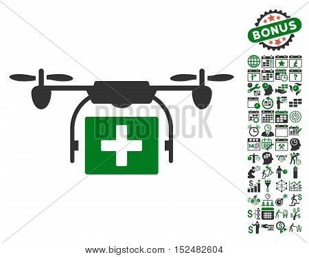 Ambulance Drone icon with bonus calendar and time management design elements. Vector illustration style is flat iconic symbols, green and gray colors, white background.