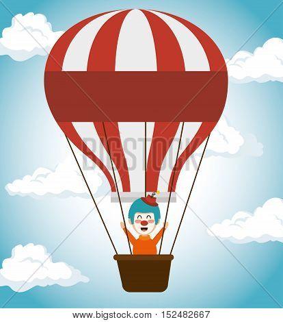 clown in  air balloon festival fun fair icon vector illustration eps 10
