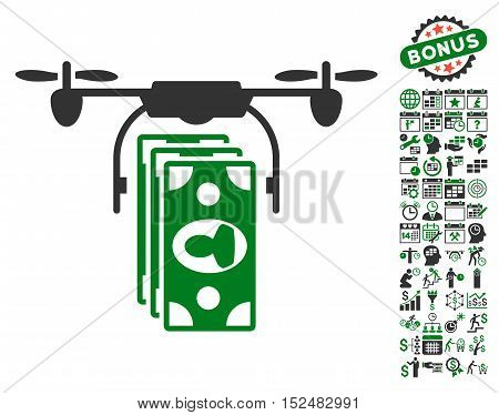 Drone Banknotes Payment pictograph with bonus calendar and time service symbols. Vector illustration style is flat iconic symbols, green and gray colors, white background.