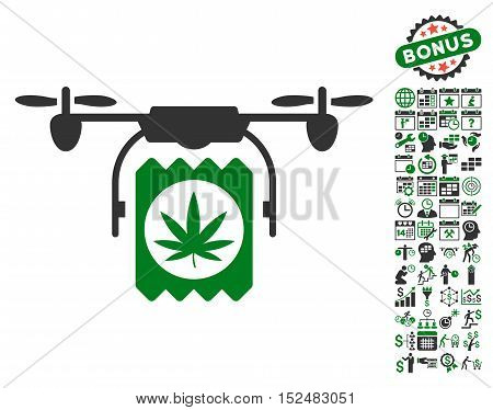 Drone Cannabis Delivery icon with bonus calendar and time service icon set. Vector illustration style is flat iconic symbols, green and gray colors, white background.