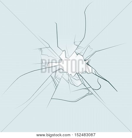 Broken glass window hand drawn. Vector illustration eps10