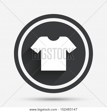 T-shirt sign icon. Clothes symbol. Circle flat button with shadow and border. Vector