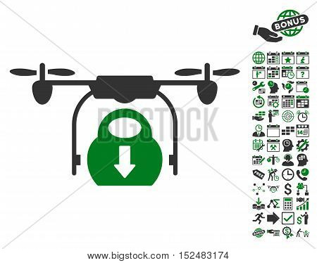 Drone Drop Cargo icon with bonus calendar and time management pictures. Vector illustration style is flat iconic symbols, green and gray colors, white background.