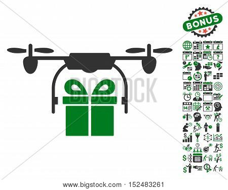 Drone Gift Delivery pictograph with bonus calendar and time management pictures. Vector illustration style is flat iconic symbols, green and gray colors, white background.