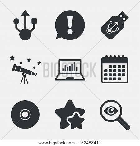 Usb flash drive icons. Notebook or Laptop pc symbols. CD or DVD sign. Compact disc. Attention, investigate and stars icons. Telescope and calendar signs. Vector