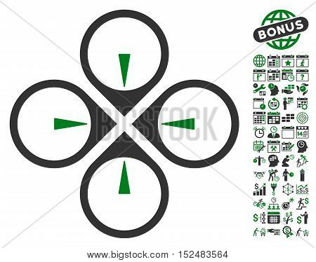 Fly Drone pictograph with bonus calendar and time management pictograph collection. Vector illustration style is flat iconic symbols, green and gray colors, white background.