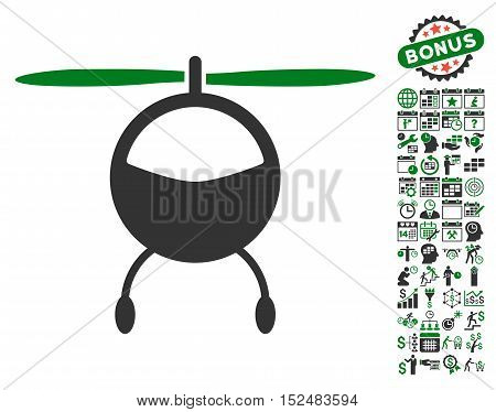 Helicopter pictograph with bonus calendar and time service symbols. Vector illustration style is flat iconic symbols, green and gray colors, white background.