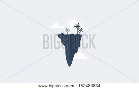 Silhouette of tree and sky scenery vector art