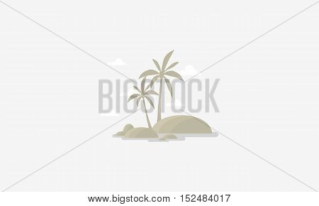 Silhouette of palm and sky scenery vector flat