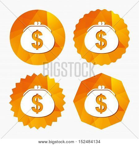 Wallet dollar sign icon. Cash bag symbol. Triangular low poly buttons with flat icon. Vector