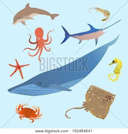 Cute ocean animals simple creatures. Octopus, shark sea cartoon fish. Vector eps10
