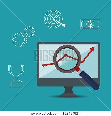 growth concept arrow search laptop vector illustration eps 10