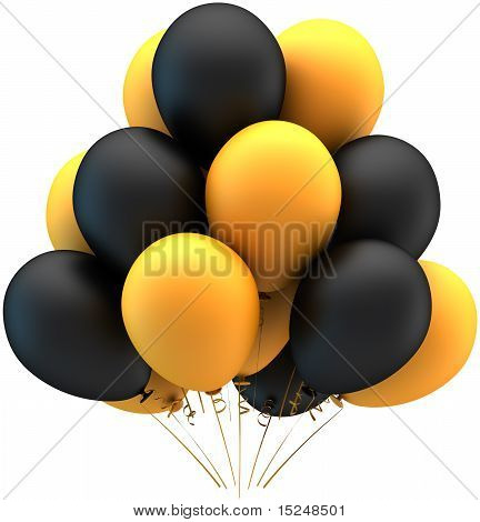 Party balloons black yellow matte