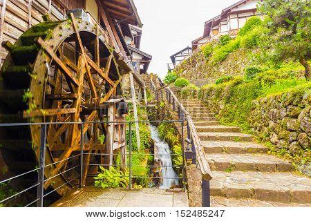 Motion Blur Wooden Water Wheel Magome Nakasendo H