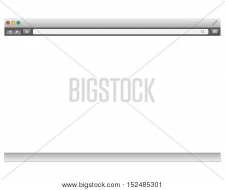 Opened template. Grey website display bar isolated. Navigation button forward, back, home, search, menu. Business concept commerce site. Background interface. Past content Vector abstract illustration eps10