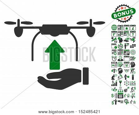 Send Drone Hand icon with bonus calendar and time management symbols. Vector illustration style is flat iconic symbols, green and gray colors, white background.