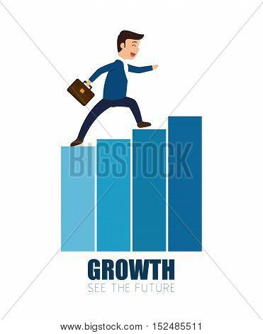man business walking growth progress vector illustration eps 10