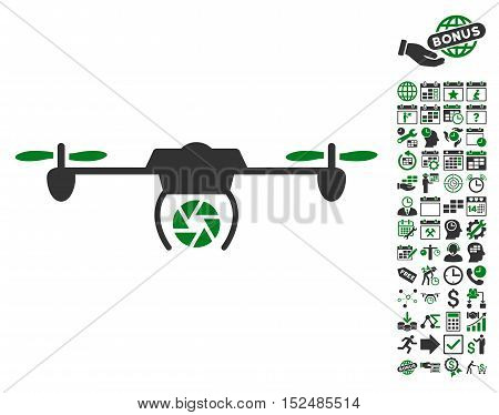 Shutter Spy Airdrone icon with bonus calendar and time service pictures. Vector illustration style is flat iconic symbols, green and gray colors, white background.