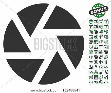 Shutter pictograph with bonus calendar and time management pictures. Vector illustration style is flat iconic symbols, green and gray colors, white background.