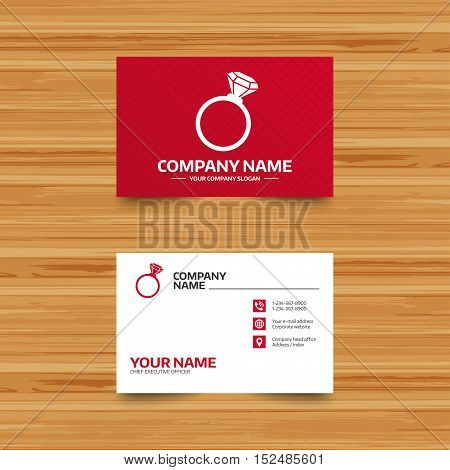 Business card template. Ring sign icon. Jewelry with diamond symbol. Wedding or engagement day symbol. Phone, globe and pointer icons. Visiting card design. Vector