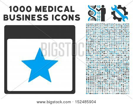 Blue And Gray Star Calendar Page vector icon with 1000 medical business pictograms. Set style is flat bicolor symbols, blue and gray colors, white background.