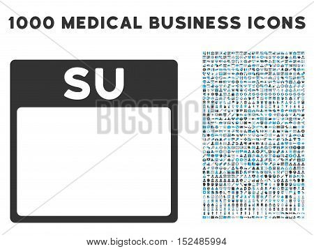 Blue And Gray Sunday Calendar Page vector icon with 1000 medical business pictograms. Set style is flat bicolor symbols, blue and gray colors, white background.