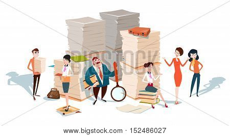 Business People Group Stacked Paper Document Paperwork Study Teamwork Flat Vector Illustration