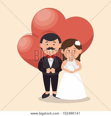 bride and groom wedding love heart design, vector illustration  graphic