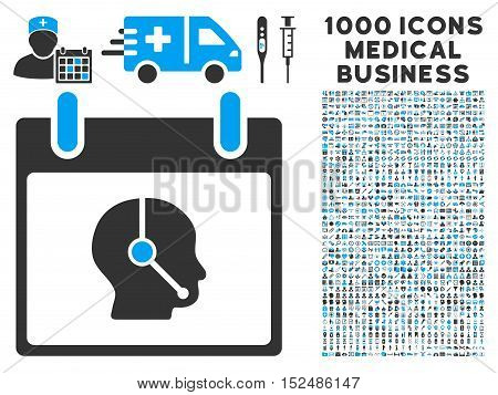 Blue And Gray Telemarketing Operator Calendar Day vector icon with 1000 medical business pictograms. Set style is flat bicolor symbols, blue and gray colors, white background.