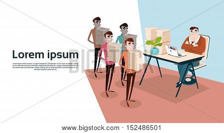 Business People Group Hold Stacked Documents Team Workplace Paperwork Teamwork Flat Vector Illustration