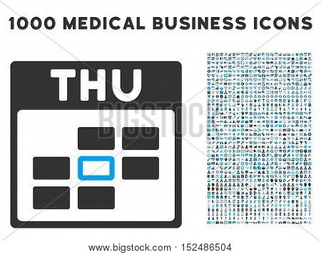 Blue And Gray Thursday Calendar Grid vector icon with 1000 medical business pictograms. Set style is flat bicolor symbols, blue and gray colors, white background.
