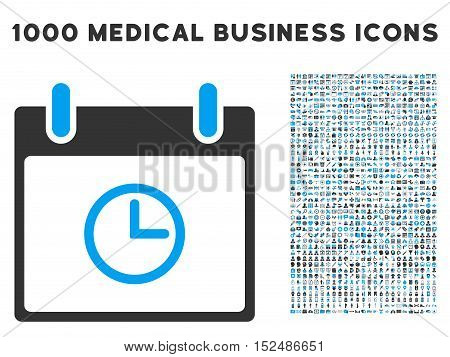 Blue And Gray Time Calendar Day vector icon with 1000 medical business pictograms. Set style is flat bicolor symbols, blue and gray colors, white background.