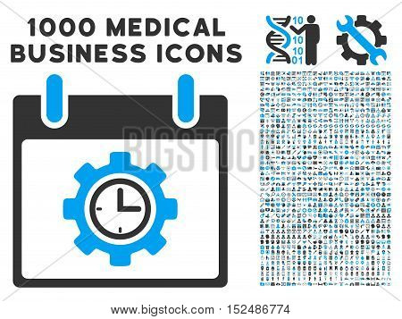 Blue And Gray Time Gear Calendar Day vector icon with 1000 medical business pictograms. Set style is flat bicolor symbols, blue and gray colors, white background.