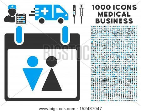 Blue And Gray Toilet Calendar Day vector icon with 1000 medical business pictograms. Set style is flat bicolor symbols, blue and gray colors, white background.
