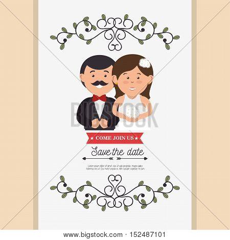 cute cartoon bride groom weddign card design, vector illustration  graphic