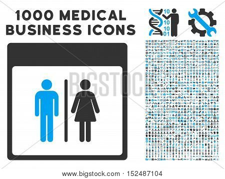 Blue And Gray Toilet Persons Calendar Page vector icon with 1000 medical business pictograms. Set style is flat bicolor symbols, blue and gray colors, white background.